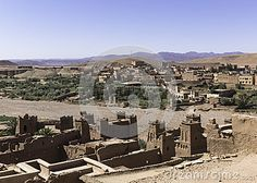 View from the top of the Kasbah ait ben haddou in the direction of village . Morocco