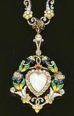 Diamond, opal, pearl, ruby & enamel Necklace, ca 1890