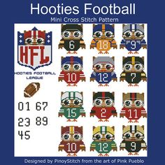 Mini stitch patterns for various projects like towel bands, coasters, samplers and quilt blocks. Mini Cross Stitch Pattern: Hooties Football League
