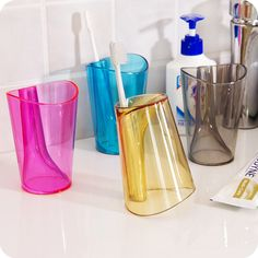2 In 1 colorful toothbrush cup + Toothbrush Holder  couple Tooth Mug travel bathroom accessories #Affiliate