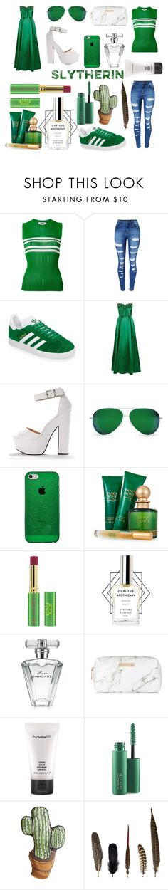 """Slytherin Look💚🐍🍃"" by daddy-couture ❤ liked on Polyvore featuring MSGM, WithChic, adidas, Victoria Beckham, Jessica Simpson, Tata Harper, Avon, Spectrum, MAC Cosmetics and Silken Favours"