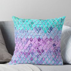 Super soft and durable spun polyester Throw pillow with double-sided print. Cover and filled options. Mermaid Scales with Unicorn Girls Glitter - Photography of Glitter - not real Glitter Big Girl Bedrooms, Little Girl Rooms, Girls Bedroom, Mermaid Room Decor, Mermaid Decorations, Mermaid Bedding, Mermaid Nursery, Unicorns And Mermaids, Baby Mermaid