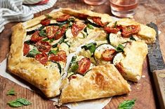 A summery, savory galette for any occasion. Veggie Recipes, Vegetarian Recipes, Dinner Recipes, Cooking Recipes, Vegetarian Dish, Vegetarian Options, Vegan Meals, Nutritious Meals, Healthy Meals