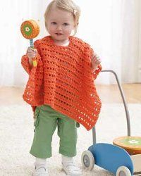 Use a free crochet baby pattern to make an adorable baby poncho. The bright orange color is perfect to wear in the summer. This is an easy crochet pattern she'll have fun in.