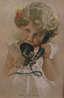"""Bessie Pease Gutmann, Illustrator, """"Are You There?"""" circa         not sure this is correct."""