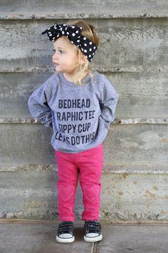 Toddler Days // Baby Toddler Child Screen Printed Long Sleeve Tshirt // Bedhead…