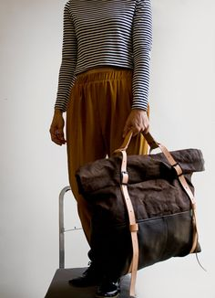 The HotShot Large Weekender Bag in Leather and Waxed by AwlSnap, $355.00