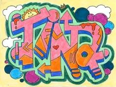 graffiti art project arts and activities Graffiti Art, Seen Graffiti, Graffiti Doodles, Graffiti Drawing, Graffiti Lettering, Typography, Art Ideas For Teens, Art Lessons For Kids, Art Lessons Elementary
