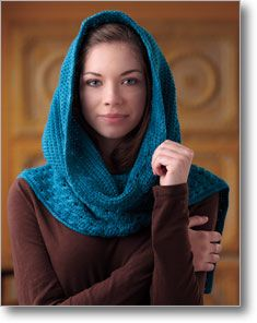 beautiful hooded scarf available at Interweave