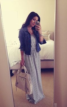 Fall Outfit: Striped Maxi Dress   Denim jacket Well minus the denimjacket bc I don