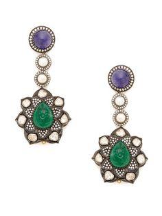 Amrapali Tanzanite, Diamond, & Emerald Flower Drop Earrings