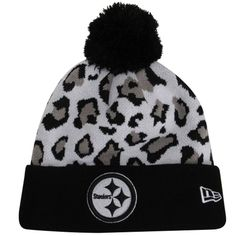 New Era Pittsburgh Steelers Team Leopard Cuffed Knit Hat with Pom- I NEED  THIS HAT c84466990