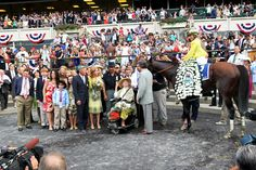 Union Rags in the winner's circle following the 2012 Belmont Stakes.
