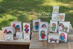 Doodlecraft: Kid Friendly Wood Block Nativity Set!