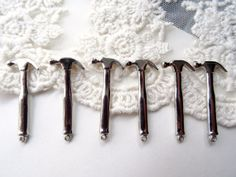 Set of 6 Silver Metal Work Tools Hammer Charms Manly by BuyDiy, $4.99