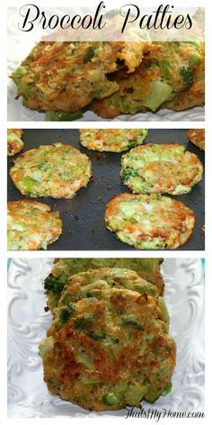 Broccoli patties: 1 teaspoon butter 2 cloves garlic - minced ½ onion - chopped 1 ounce) bag frozen broccoli - defrosted ¾ cup breadcrumbs ½ cup sharp cheddar cheese ⅓ cup parmesan cheese 2 eggs - beaten salt and pepper 1 teaspoon vegetable oil Veggie Recipes, Vegetarian Recipes, Cooking Recipes, Healthy Recipes, Frozen Broccoli Recipes, Frozen Vegetable Recipes, Brocolli Recipes, Cooking Food, Cooking Videos