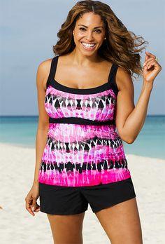 Beach Belle Coachella Plus Size Empire Tankini Top Bathing Suit Dress, Swim Dress, Big And Tall Outfits, Plus Size Outfits, Dress Body Type, Plus Size Men, Plus Size Skirts, Plus Size Swimwear, Tankini Top