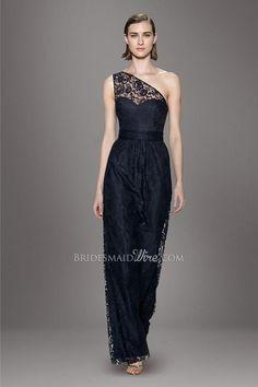#dark navy asymmetrical single shoulder #sweetheart bodice natural waist a line floor length #bridesmaid dress