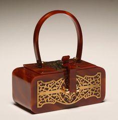 Vintage tortoiseshell lucite handbag by Wilardy, New York;