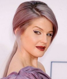 So pretty...Kelly Osbourne Hairstyles: Sleek Ponytail with Bangs