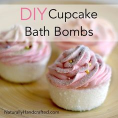 To make DIY Cupcake Bath Bombs with Pink Frosting all you need are a few ingredients to make the base, and a few ingredients to make the yummy looking frosting. These adorable DIY cupcbath bombs smell amazing and look good enough to eat.