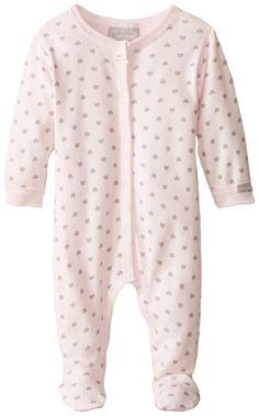Coccoli Baby-Girls Newborn Heart Footie, Pink, 6 Months