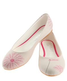 Pink & cream floral detail flats  Sale - GOBY Sale
