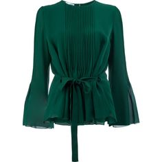 Oscar de la Renta pleated front blouse ($2,405) ❤ liked on Polyvore featuring tops, blouses, green, oscar de la renta top, green top, oscar de la renta, silk blouse and silk tops