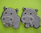"Hippo Felt  Animal Ornaments for Zoo, Forest, Safari, Jungle Theme, Crafting, Embellishment, Party Favors, 3 pieces 2"" x 2"""