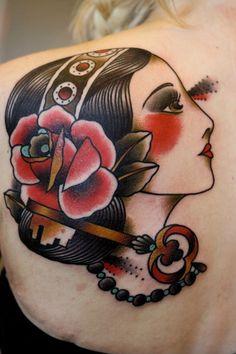 Old School Sugar Skull Women Tattoo on upper back