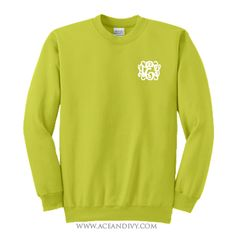 Monogrammed Crewneck Sweatshirt - Neon Green – Ace & Ivy