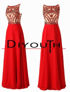 DIYouth Real Long Red Beading Evening Dresses Prom Gowns for Homecoming
