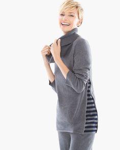 Chico's Women's Zenergy Cotton Cashmere Stripe Inset Sweater, Grey, Size: 4 (20/22 XXL)