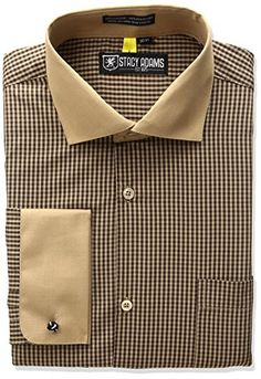 Stacy Adams Men s Classic Fit Osaka Dress Shirt  Regular fit-extreme spread  collar w reduced conv. French cuff and exposed buttons  osaka  59ec63a0571