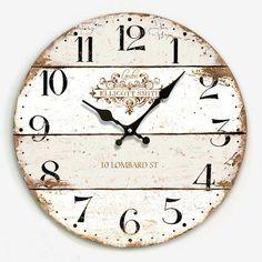Hot Sale Artistic Silent Retro Creative European Style Round Colorful Vintage Rustic Decorative Antique Wooden Home Wall Clock Farmhouse Wall Clocks, Rustic Wall Clocks, Wood Clocks, Rustic Walls, Antique Clocks, Clock Decor, Diy Wall Decor, Pallet Clock, Big Clocks