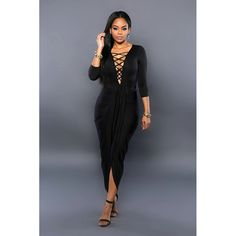 3266ce7a2a7 Adogirl Lace Up Women Cut Cross Maxi Dress Sexy Party Bandage Draped Bodycon  Robe Black Irregular Sleeve Club Dresses