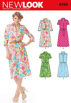 Classic ShirtWaist style dress with many sleeve options. Classic darted and yoked with full skirt.