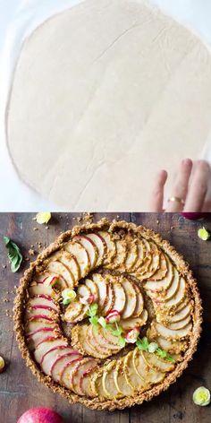 Tart Recipes, Real Food Recipes, Dessert Recipes, Cooking Recipes, Yummy Food, Healthy Vegan Desserts, Vegetarian Snacks, Healthy Snacks, Fresh Apples