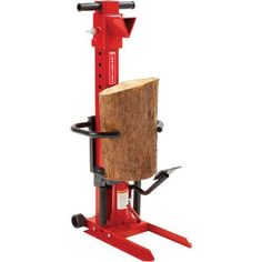 Splits sawn logs up to 230mm diameter and length 280-584mm Two stage pump, ram travel will shorten as the splitting pressure increases depending on hardness of log Foot operated hydraulic lever action Robust construction Splitting force: 8 tonnes