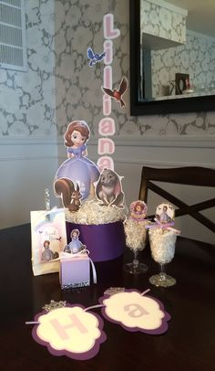 Sofia the first centerpiece and party decorations