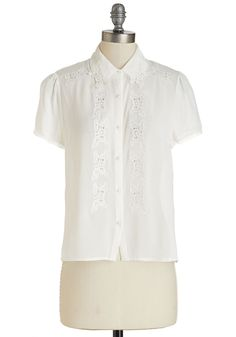 The Suspense is Frilling Me Top. It doesnt much sleuthing to discover all you adore about this white top! #white #modcloth
