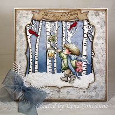 Dena's Stamping Corner - A gorgeous Christmas card from the talented Dena Concienne, using a Lili of the Valley rubber stamp. Die Cut Christmas Cards, Christmas Sentiments, Fall Cards, Winter Cards, Xmas Cards, 1st Christmas, Handmade Christmas, Holiday Cards, Christmas Crafts