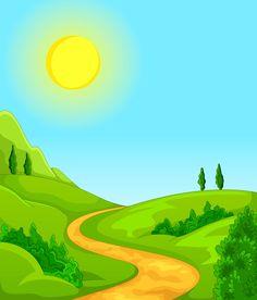 ฉากนิทาน Artsy Background, Background Clipart, Cartoon Background, Paper Background, Landscape Illustration, Landscape Art, Boarder Designs, Powerpoint Background Design, Marianne Design