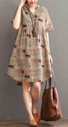 Khaki print summer shift dress long blouse (com imagens) Trendy Dresses, Simple Dresses, Cute Dresses, Casual Dresses, Casual Outfits, Fashion Dresses, Loose Dresses, Summer Dresses, Shift Dresses