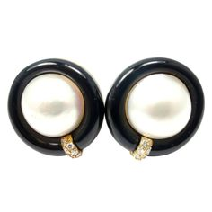 Gump's Of San Francisco Black Onyx Mother of Pearl Diamond Yellow Gold Earrings | From a unique collection of vintage stud earrings at http://www.1stdibs.com/jewelry/earrings/stud-earrings/