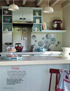 vintage kitchen ideas  To combine existing cupboards with new shelves...