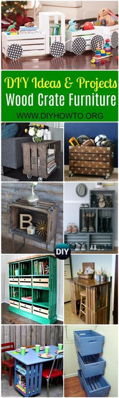 A Collection of DIY Wood Crate Furniture Ideas&Projects: Crate Wall Storage, Tractor Toy Storage, Train Planter, Bookcase, Office Desk, Craft Table, Shelving... via @diyhowto