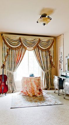 Valance curtains with swags and tails by celuce com traditional living - Gorgeous Curtains On Pinterest Window Treatments