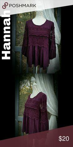 "CROCHET LACE BOHO TOP ✨SIZE: L (generous fit) ✨BRAND: Hannah ✨MEASUREMENTS: B-  43""   L-25"" front 29""back ✨DESCRIPTION: Gorgeous boho-style blouse featuring beautiful crochet lace detail on front and sleeves.  Flowy fit with high low hem. EUC...Worn once. ✨COLORS: Burgundy-plum color Hannah Tops Blouses"