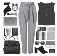 """""""pinstripes I"""" by rosemarykate ❤ liked on Polyvore featuring Phase Eight, Alice + Olivia, Topshop, Dorothy Perkins, Versace, ASOS, Schu(h)tzengel, NARS Cosmetics, H&M and Caran D'Ache"""